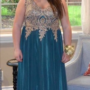 Bluish hunter green long prom dress